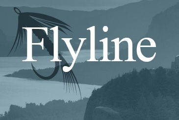 FLYLINE. River and mountains in the background.
